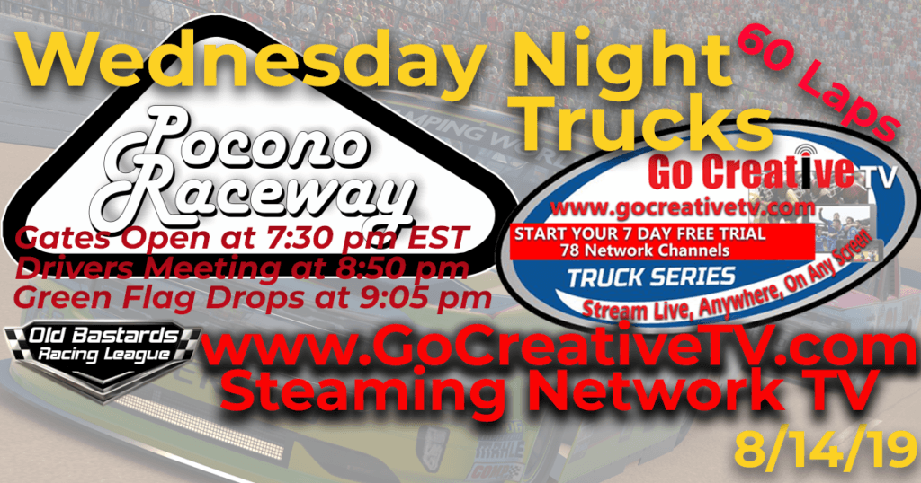 CBS Nascar Go Creative Streaming TV Truck Series Race at Pocono Raceway