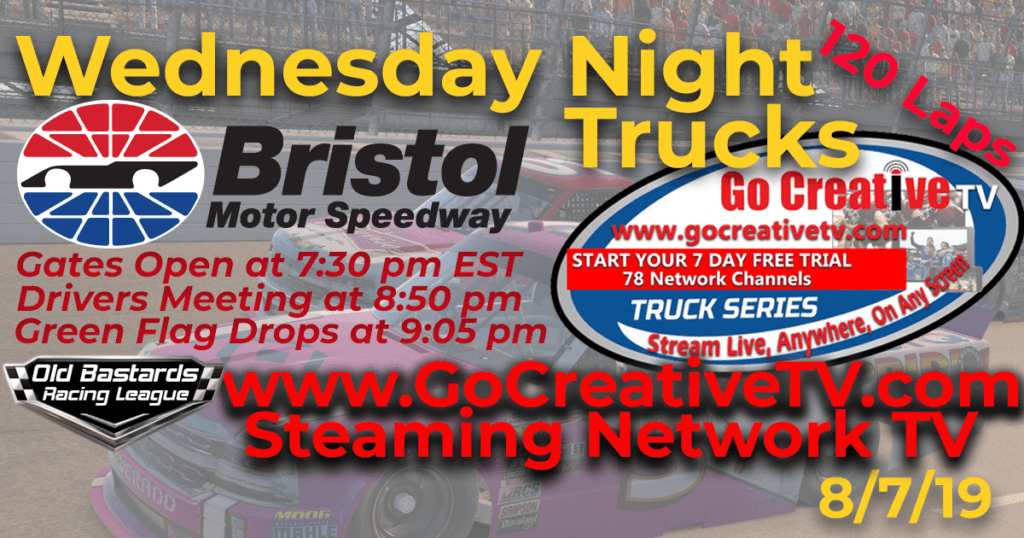 NBC Nascar Go Creative Streaming TV Truck Series Race at Bristol Motor Speedway